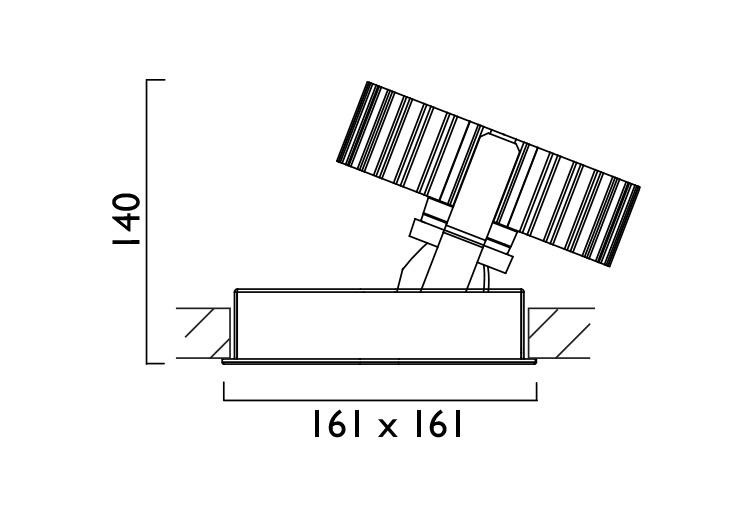 Square X161 Wallwasher Line Drawing